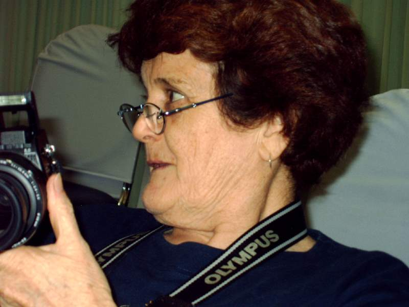 Fran and her camera, 2005
